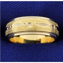 14k Yellow Gold Wedding Band Ring With Beaded Edge and Unique Design