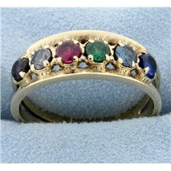 Vintage Multi-Colored Gemstone Ring in 14k Gold