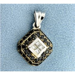 18K 1ct TW Black & White Diamond Pendant
