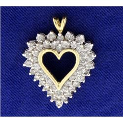 1ct Total Weight Diamond Heart Pendant