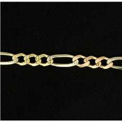 19 Inch Italian Made Rose, White, and Yellow Figaro Chain
