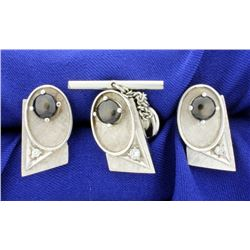 Diamond and Black Sapphire Cufflinks, Tie Tack, and Tuxedo Stud Set