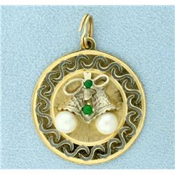 Emerald & Pearls Bells Christmas Holiday Pendant