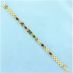 Ruby, Sapphire, Emerald, and Diamond Cabochon Bracelet
