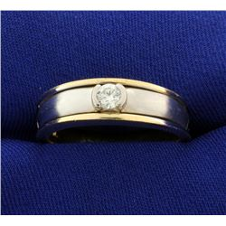 Men's Yellow and White Gold Two Tone Diamond Ring