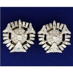 Vintage 7ct TW Diamond Clip-On Earrings