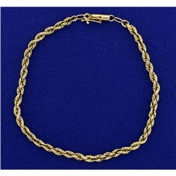 8 Inch Rope Style Bracelet in 14k Gold