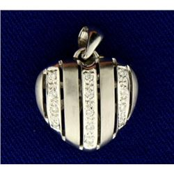 Diamond Striped Heart Pendant