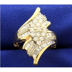 1ct TW Diamond Designer Ring with Round and Baguette Diamonds in adjustable/arthritic shank