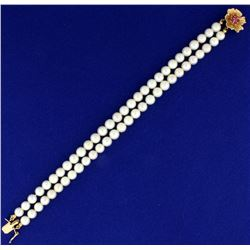 Double Strand Akoya Pearl Bracelet with 14k gold and Ruby Clasp