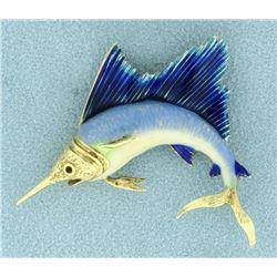14k Gold Enameled Sailfish Pin