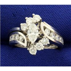 1 1/2 ct TW Marquise Diamond Engagement Ring Set in 14k White Gold