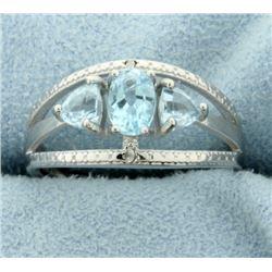 Three Stone Blue Topaz Ring with Diamonds