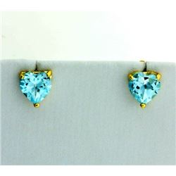 Sky Blue Topaz Heart Stud Earrings