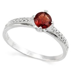 Garnet Cathedral Pave-Inspired Ring with Diamond in Sterling Silver