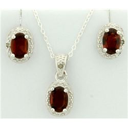 Garnet 1.4CT TW Earring and Pendant SET with Diamonds in Sterling Silver