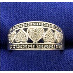 1/3ct TW Black and White Diamond Heart Love Ring