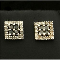 Black and White Diamond Earrings in 10k White Gold