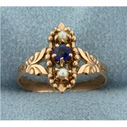 Vintage Sapphire and Seed Pearl Ring in 14k Rose Gold