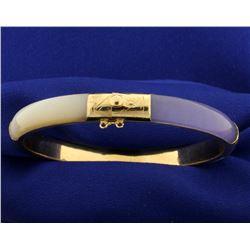Lavender and White Jade Bangle Bracelet in 14k Gold