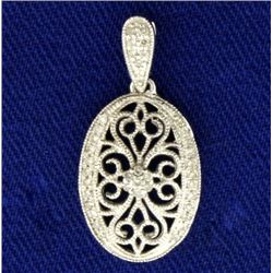 Diamond and Filigree 14k White Gold Diamond Pendant