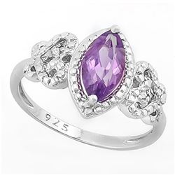 Amethyst Vintage Style Ring with Diamond in Sterling Silver