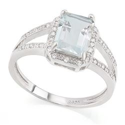 Emerald Cut Aquamarine Ring with White Sapphires in Sterling Silver