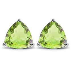 Trillion 1.5 CTW Peridot Stud Earrings in Platinum over Sterling Silver