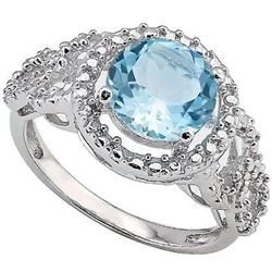 Huge 2.2 CT Baby Swiss Blue Topaz and Diamond Ring in Sterling Silver