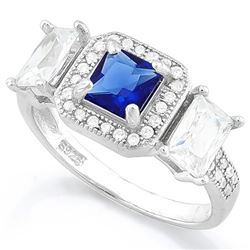 Lab Blue Sapphire Halo Style Ring in Sterling Silver