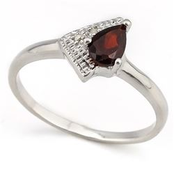 Modern Garnet Ring with Diamond in Sterling Silver