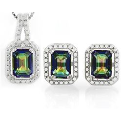 3CTW Ocean Mystic Topaz and Diamond Earring and Pendant SET in Sterling Silver