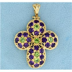 8 ct tw Amethyst and Peridot Cross Pendant