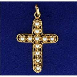 14k Pearl Cross Pendant