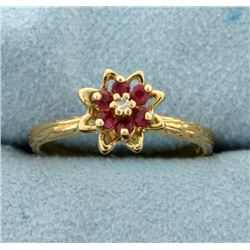 Ruby and Diamond Flower Ring with nature/branch design shank in 10k Gold