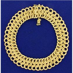 8 Inch Italian Made Circular Woven Link Bracelet in 14k Gold