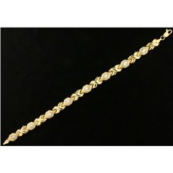 7 Inch Diamond Cut Designer Bracelet in Yellow and White Gold
