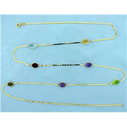 Multi Gemstone 33 inch Long Necklace in 14k Gold