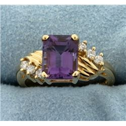 2.5ct Amethyst and Diamond Ring in 14k Yellow Gold