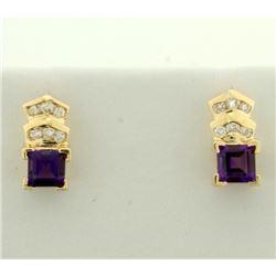 Amethyst and Diamond Earrings in 14k Gold