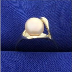 Rose Colored Akoya Pearl Ring in 14k Gold