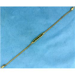 7 1/4 Inch Emerald Bracelet in 14k Gold