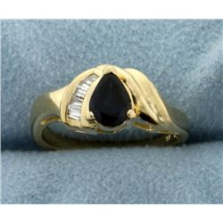 Natural Sapphire and Diamond Ring in 14k Gold