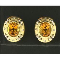 Unique Designer 4ct TW Citrine and Diamond Earrings in 14k Gold