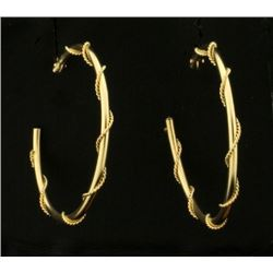 Twisted Rope Style Hoop Earrings in 14k Yellow Gold