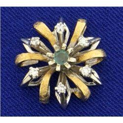Vintage Alexandrite and Diamond Pendant in 14k Gold