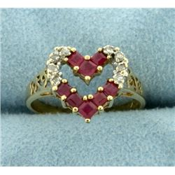 Diamond and Ruby Heart Ring in 14k Gold