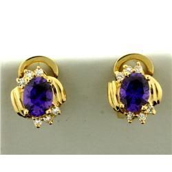 Purple Garnet and Diamond Earrings