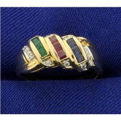 Sapphire, Ruby, Emerald, and Diamond Ring in 14k Gold