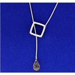Citrine Lariat Diamond Necklace
